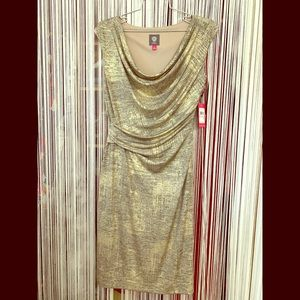 NWTs Vince Camuto Gold on Black Metallic Dress